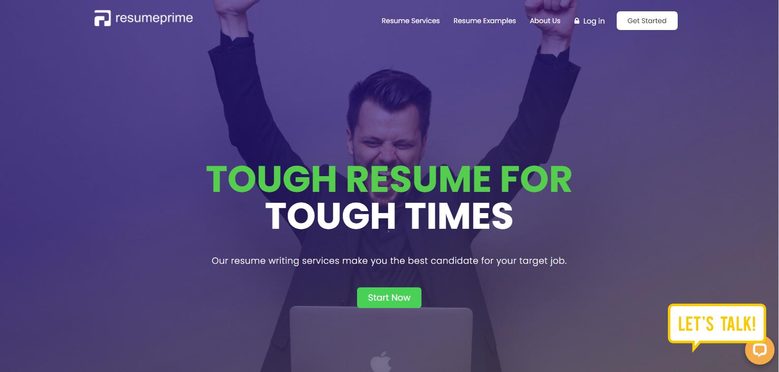 Best Sales Resume Services - Screenshot of Resume Prime Homepage