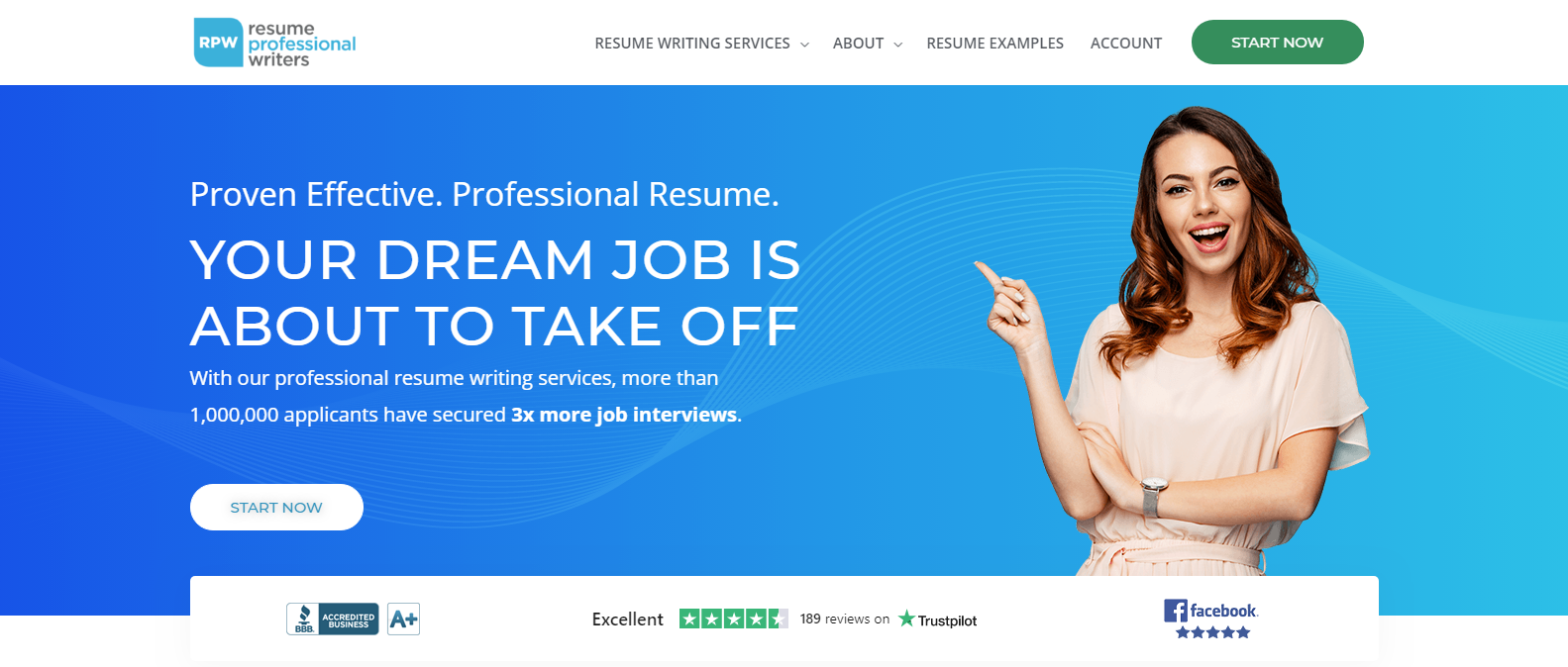 Best Sales Resume Services - Screenshot of Resume Professional Writers Homepage