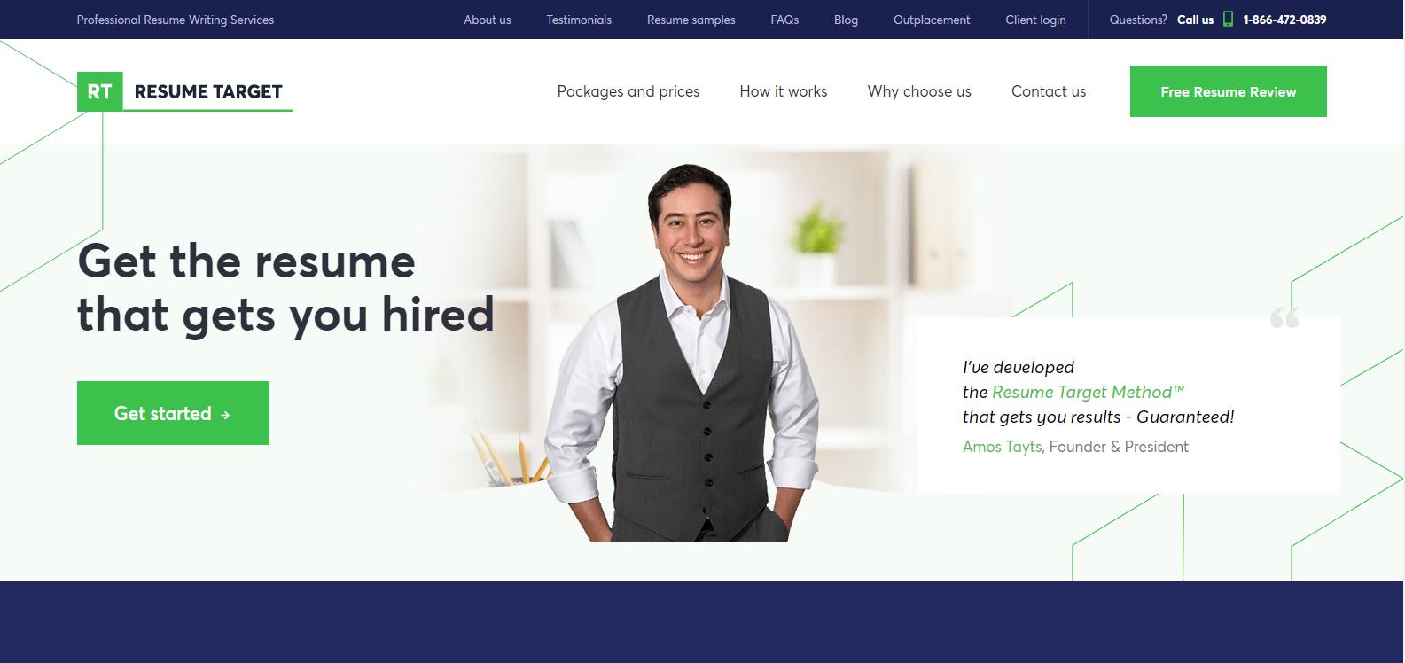 Best Sales Resume Services - Screenshot of Resume Target Homepage