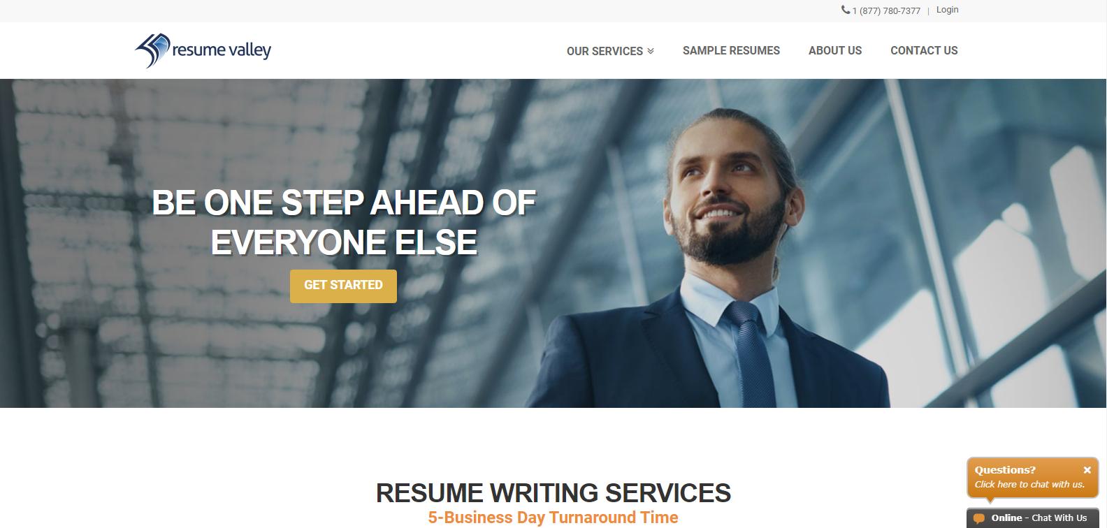 Best Sales Resume Services - Screenshot of Resume Valley Homepage