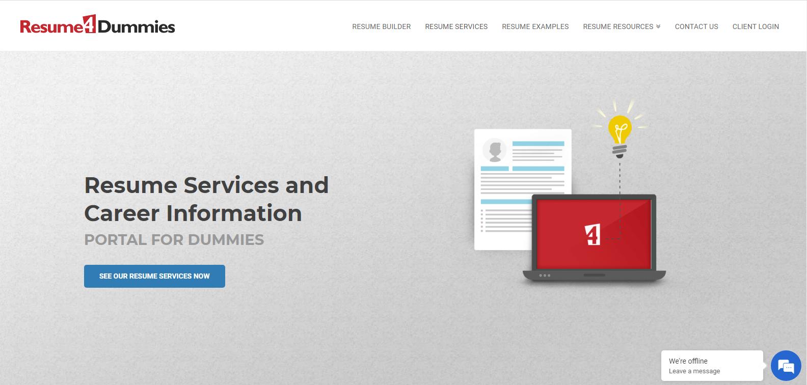 Best Sales Resume Services - Screenshot of Resume4Dummies Homepage