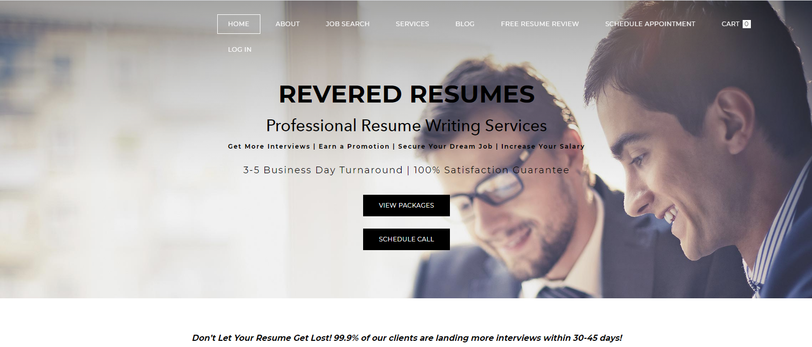 Best Sales Resume Services - Screenshot of Revered Resumes Homepage