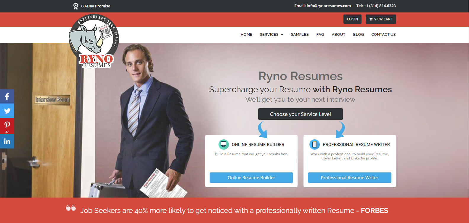 Best Sales Resume Services - Screenshot of Ryno Resumes Homepage