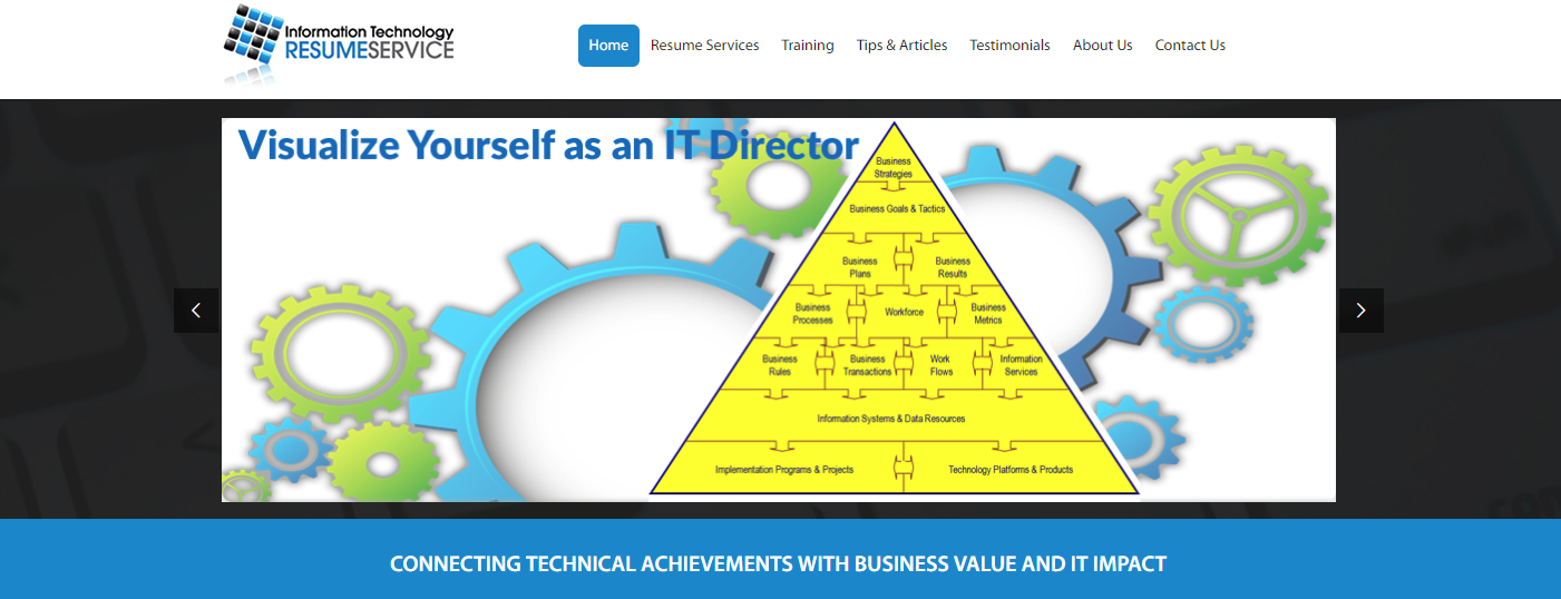 Top 10 IT Resume Service - Screenshot of Information Technology Resume Service Homepage