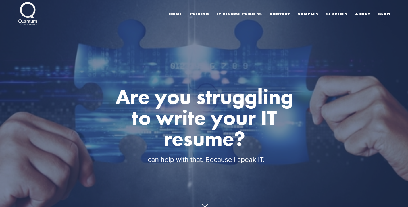 Top 3 IT Resume Service - Screenshot of Quantum Tech Resumes Homepage