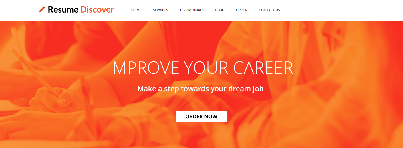 Top 8 IT Resume Service - Screenshot of Resume Discover Homepage