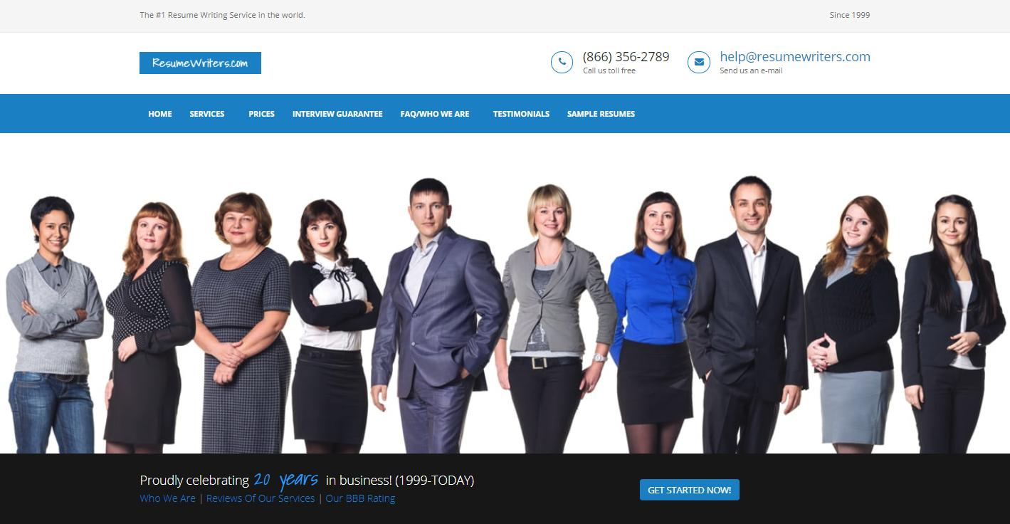 Top 7 IT Resume Writing Service - Screenshot of Resume Writers Homepage