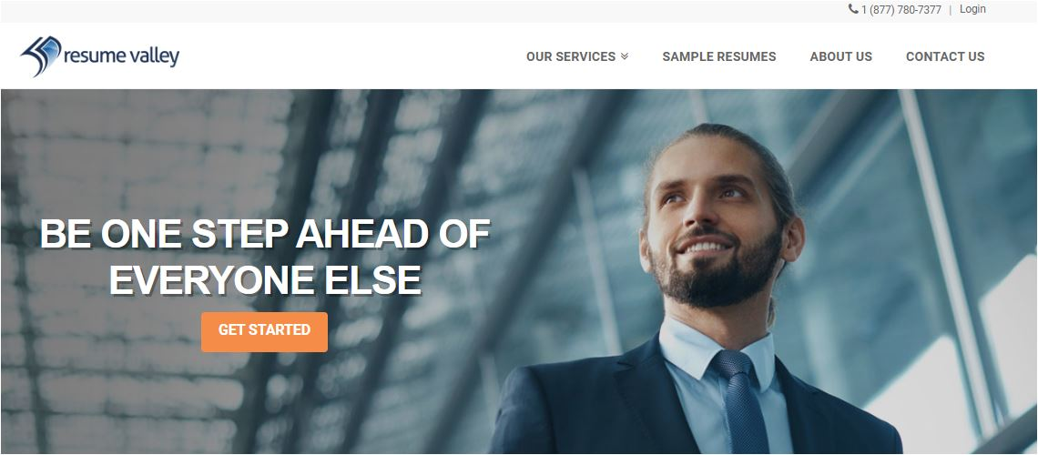 Top 4 IT Resume Service - Screenshot of Resume Valley Homepage