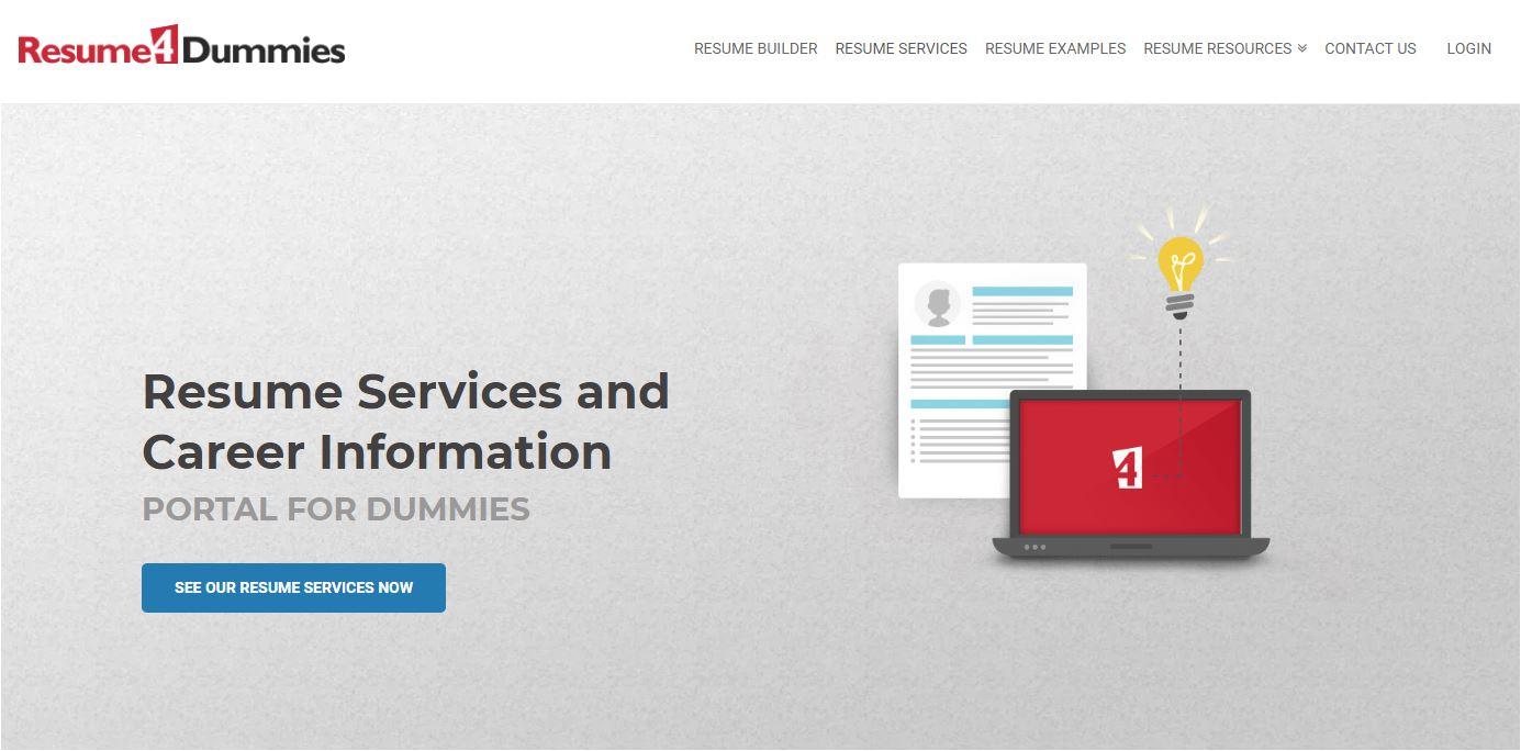 Top 5 IT Resume Service - Screenshot of Resume4Dummies Homepage