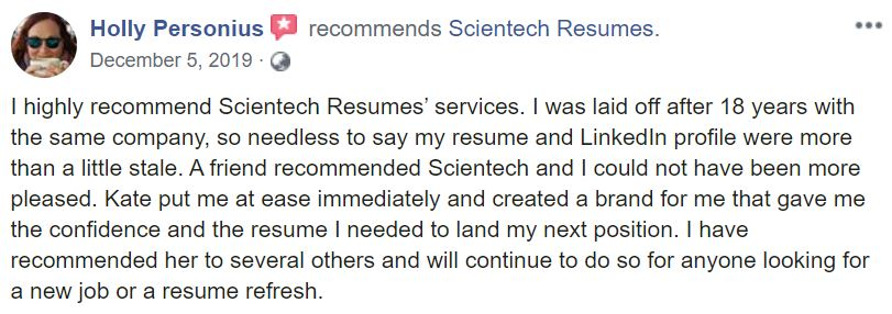 IT Resume Service - Screenshot of Scientech Resumes Facebook Review