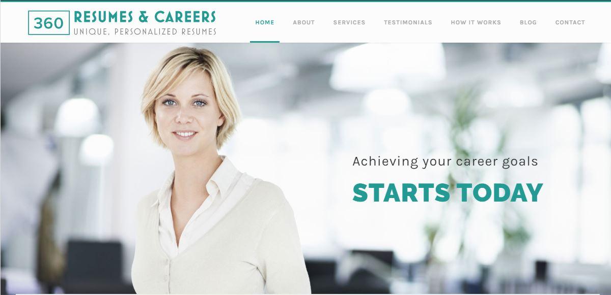 Best Resume Service in California – Screenshot of 360 Resumes and Careers Homepage