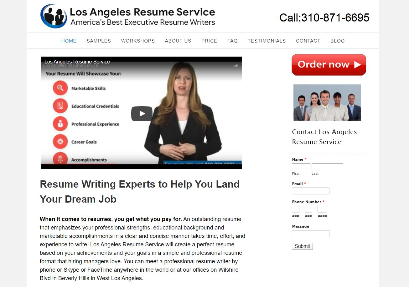 Best Resume Service in California – Screenshot of Los Angeles Resume Service Homepage
