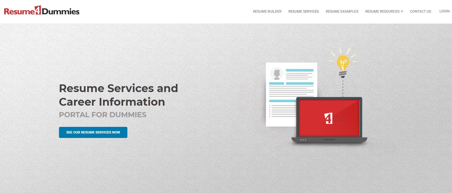 Best Resume Service in California - Screenshot of Resume 4 Dummies Homepage