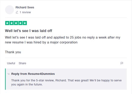 Best Resume Service in California - Screenshot of Resume 4 Dummies Trustpilot Review