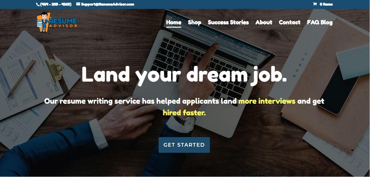 Best Resume Service in California – Screenshot of Resume Advisor and Careers Homepage