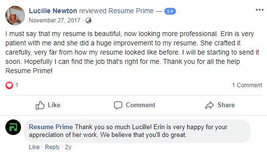 Best Resume Service in California - Screenshot of Resume Prime Facebook Review