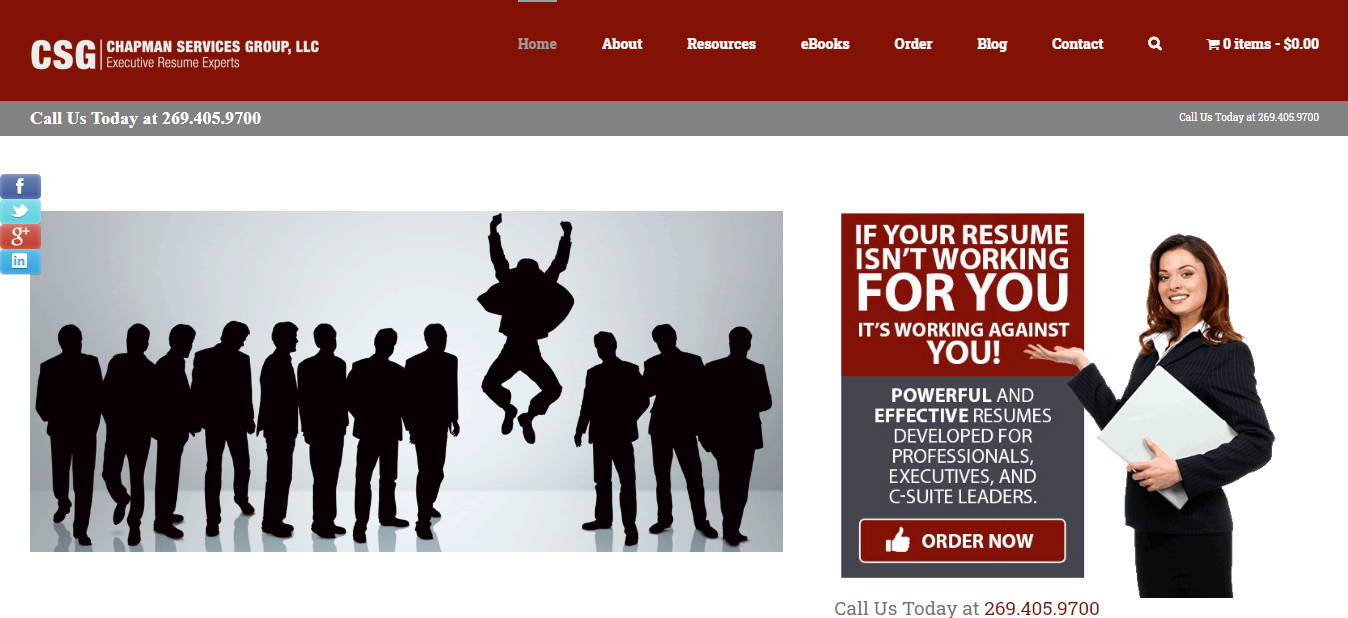 Header image of Chapman Services Group, LLC offering best executive resume writing services