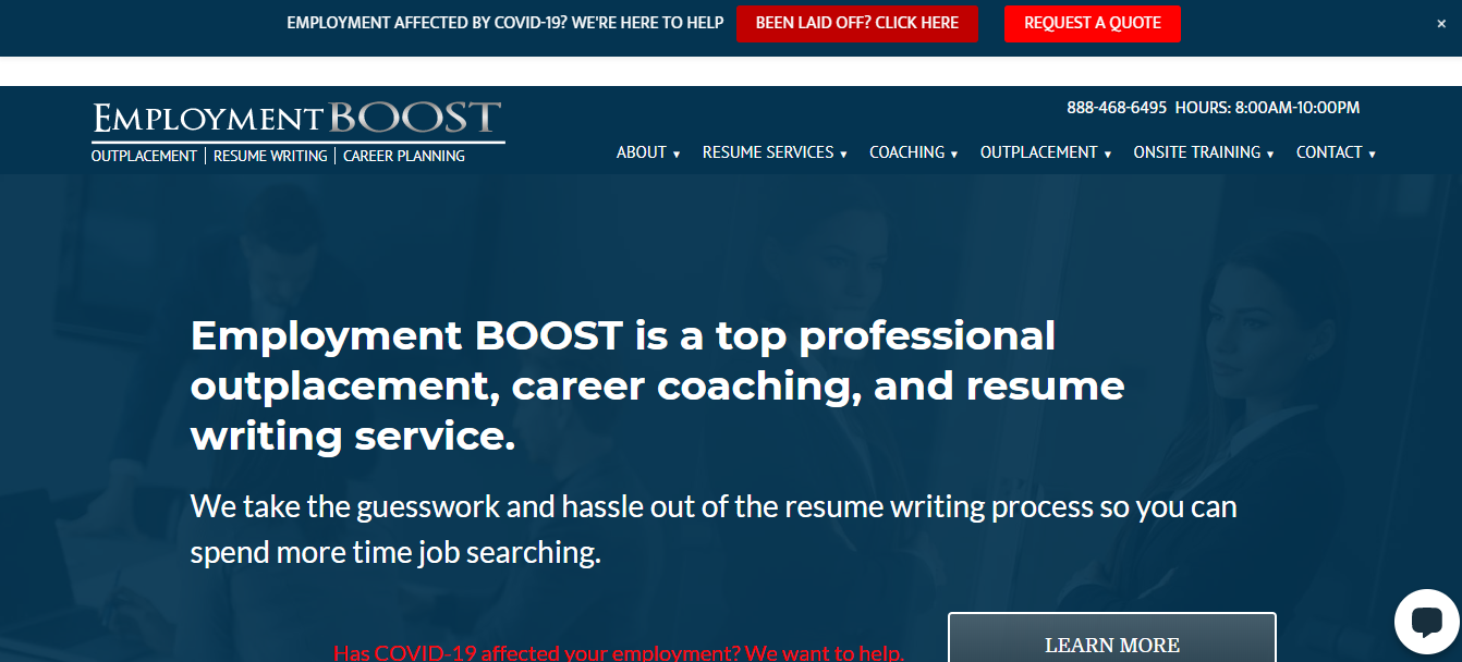 Header image of Employment Boost offering best executive resume writing services