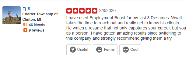 Screenshot of Yelp review of Employment Boost for the best executive resume writing services
