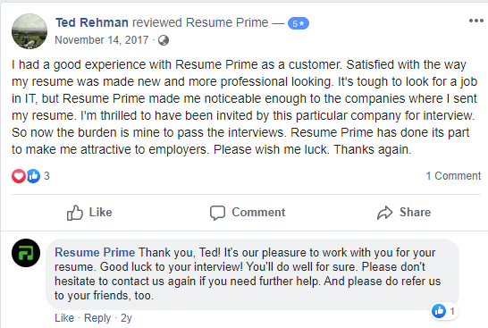 Screenshot of Facebook review of Resume Prime for the best executive resume writing services