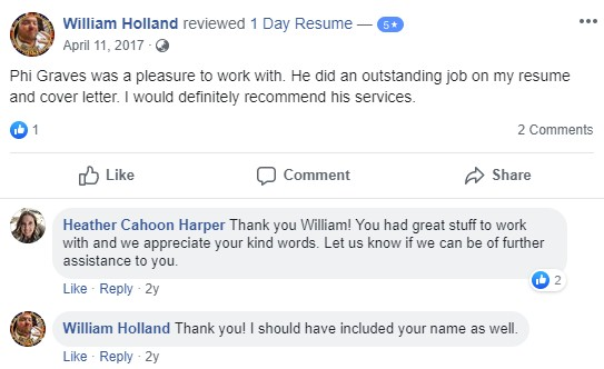 Facebook review from 1Day Resume client