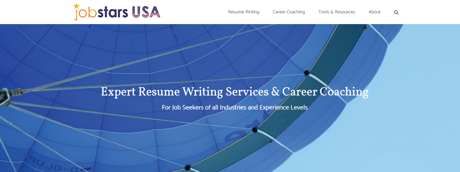 Screenshot of JobStars USA's banner with a portion of a large blue parachute flying on a bright sky