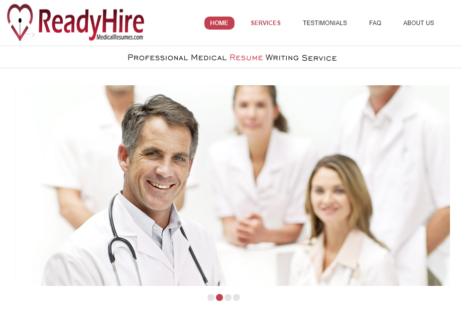 best medical resume writing services - ReadyHireMedicalResumes' banner with a member of a medical team as one of the best medical resume writing services