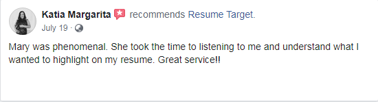 Screenshot of a client review on facebook about the medical resume services of Resume Target