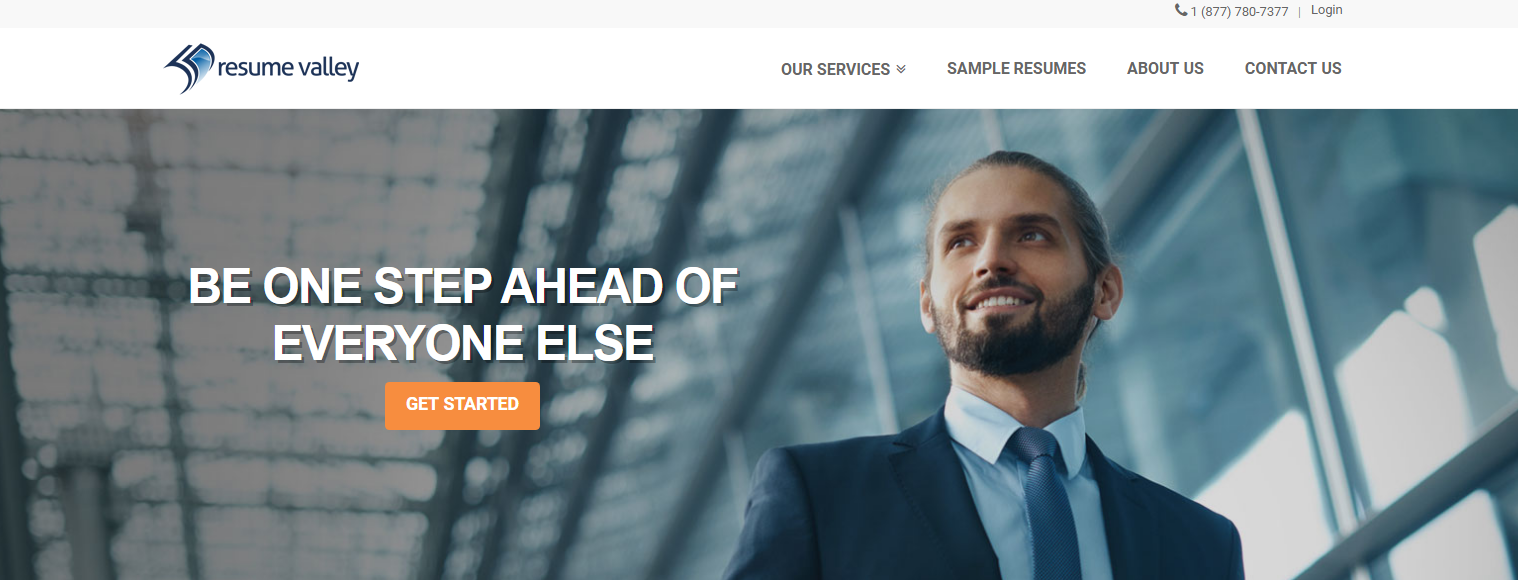 Screenshot of Resume Valley's banner with a man wearing a suit, out to look for the 10 best medical resume writing services