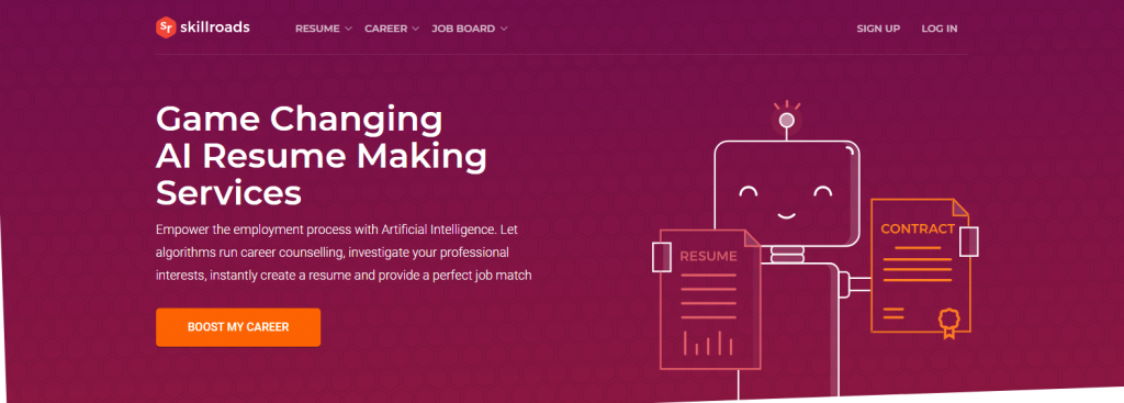 Screenshot of skillroads logo with a robot holding contract and resume for one of the best medical resume writing services