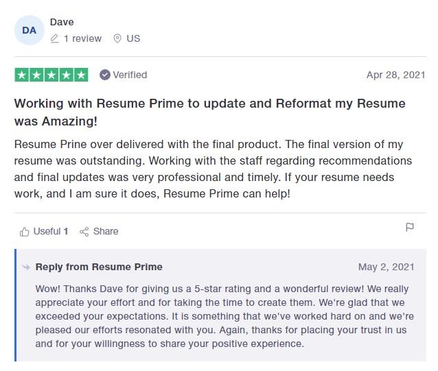 10 Best Resume Writers - screenshot of Resume Prime's Trustpilot Review