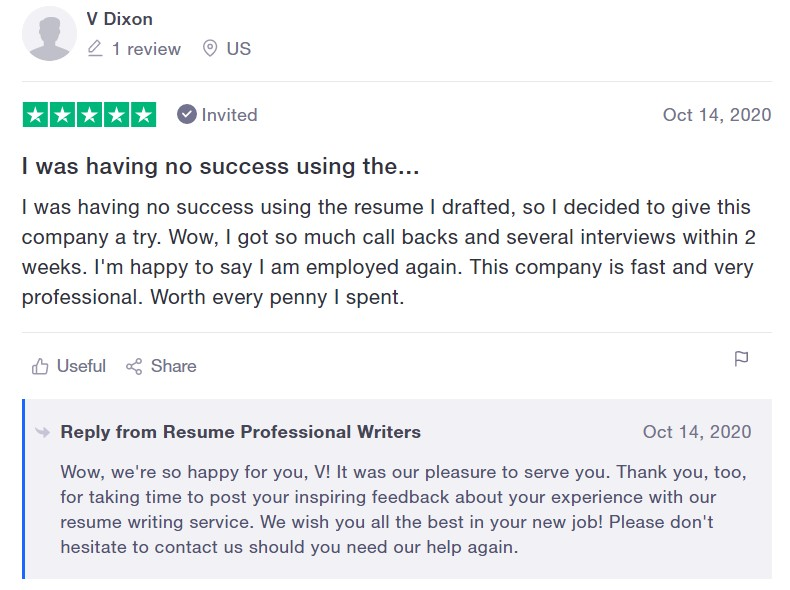 10 Best Resume Writers - screenshot of Resume Professional Writers' trustpilot review