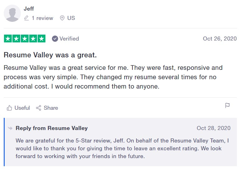 10 Best Resume Writers - screenshot of Resume Valley's trustpilot review