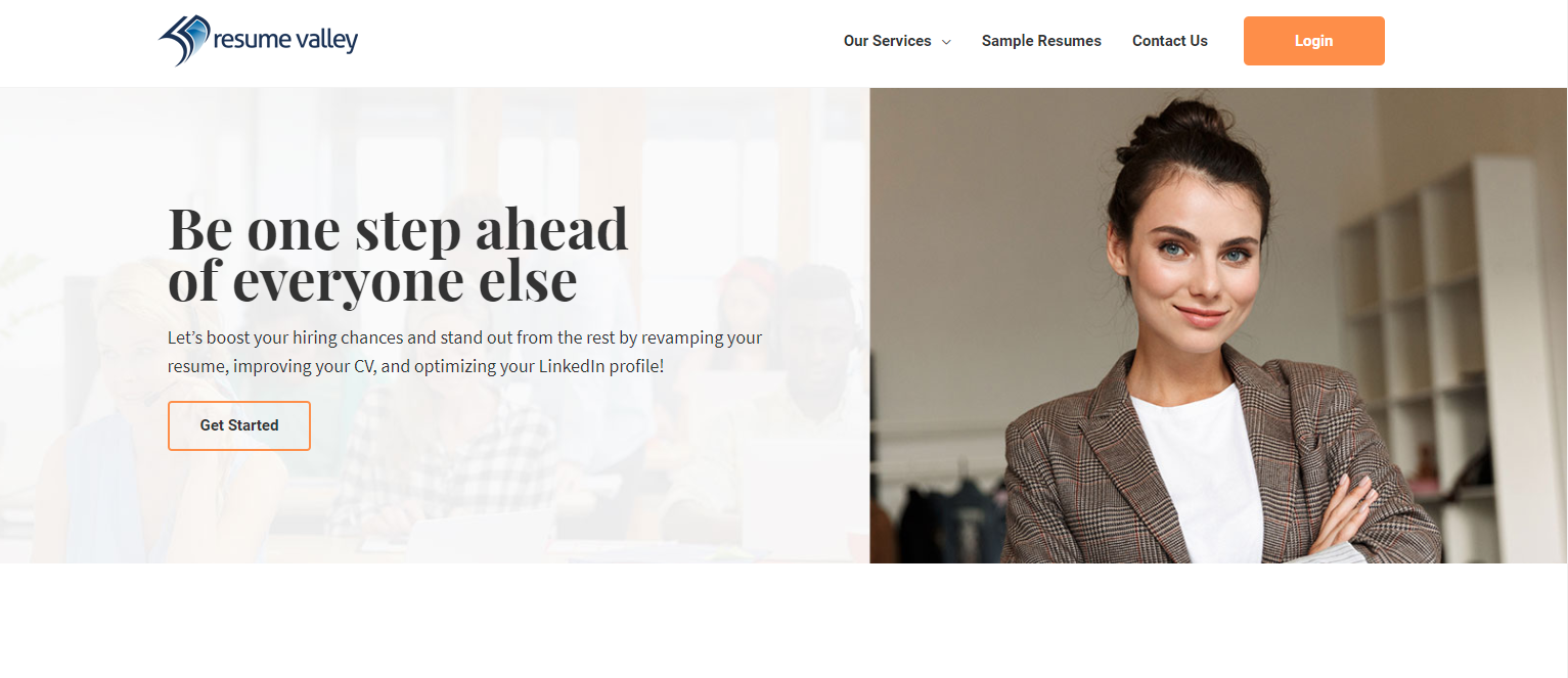 resume valley homepage, woman in business attire