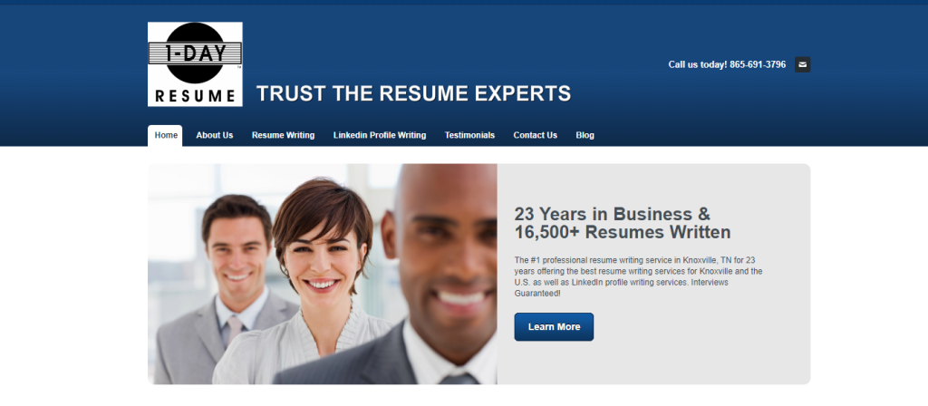 1Day Resume Header with three professionals in office attire