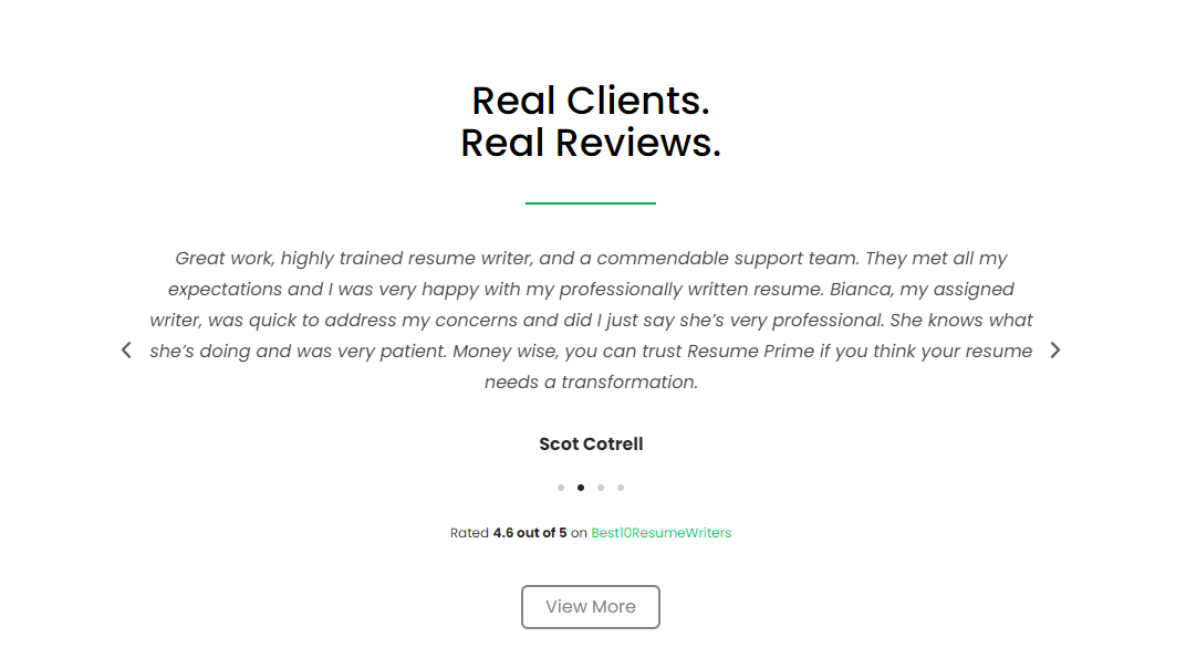 Excellent Reviews from real clients of Resume Prime for best medical resume service