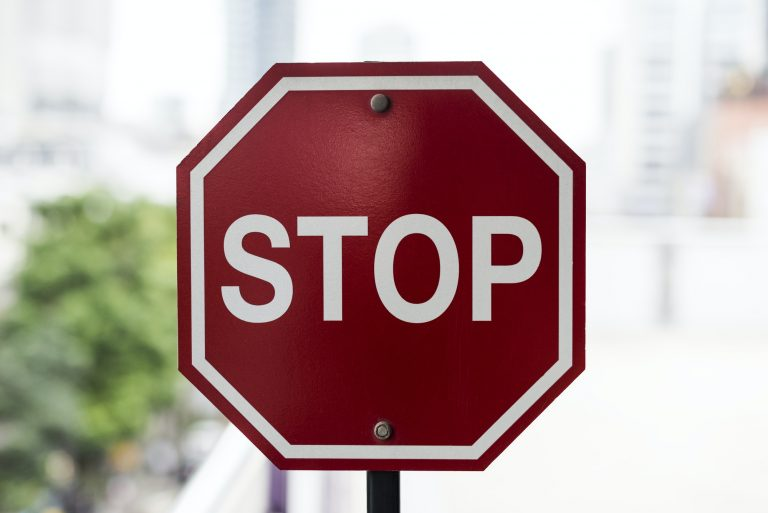 Closeup of stop road sign