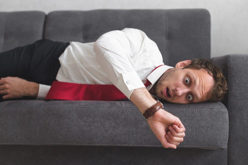 business worker overslept
