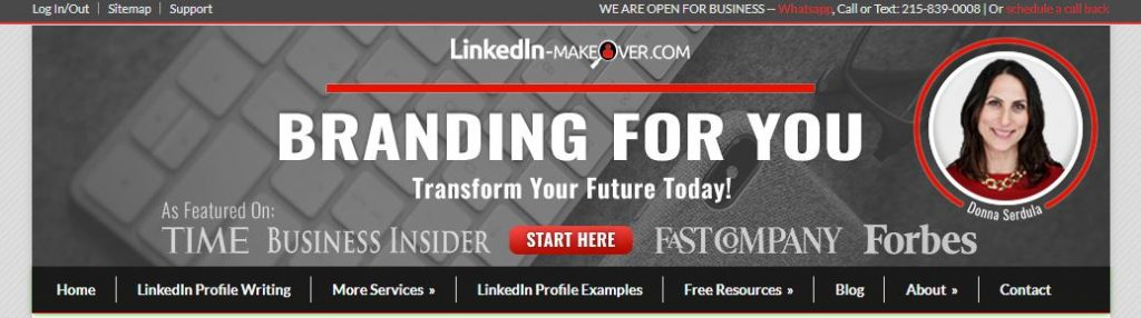 LinkedIn Makeover homepage with a photo of Donna Serdula and a tagline branding for you transform your future today