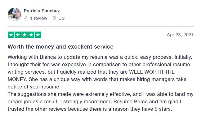 resume prime Trustpilot review