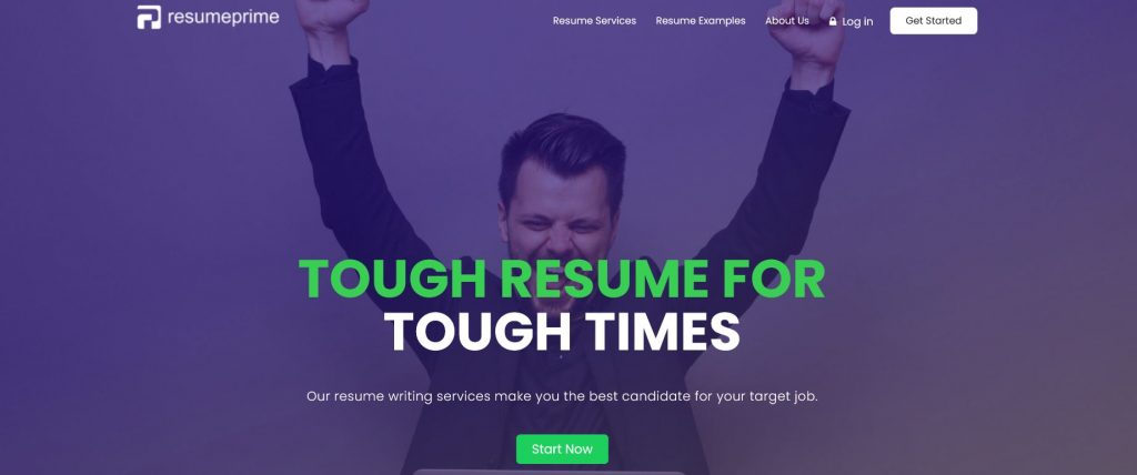 Resume Prime homepage with a tagline tough resume for tough times and a man raising his two arms