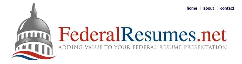 Homepage of FederalResumes.net with a tagline adding value to your federal resume presentation