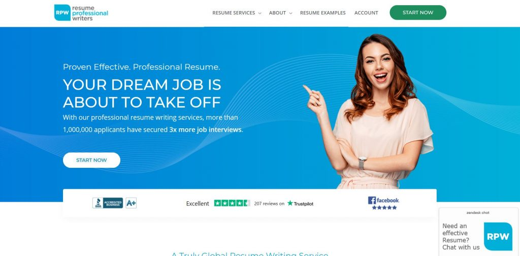 Homepage of Resume Professional Writers with a photo of a girl pointing on the tagline Your Dream Job is about to Take off