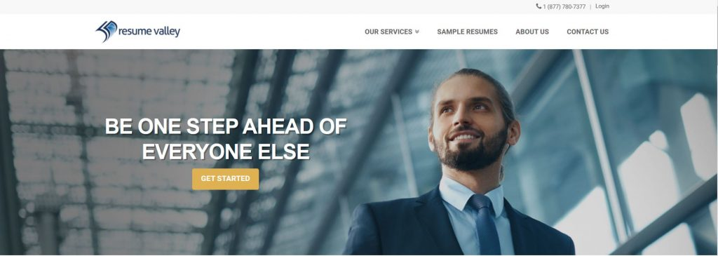 Homepage of Resume Valley with a tagline Be one step ahead of everyone else and a photo of a man in suit