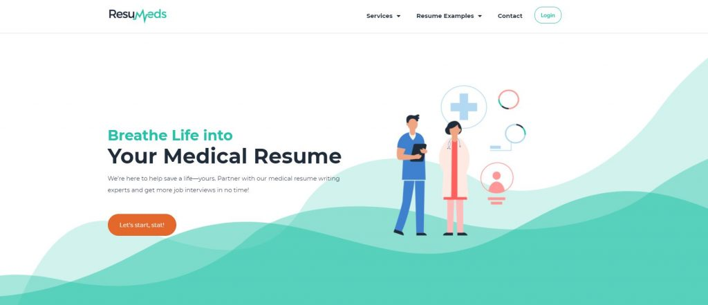 Homepage of ResuMeds with a graphic art of a two health workers on the right and a tagline Breathe Life into Your Medical Resume