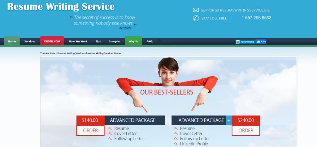 10 Best Resume Writers - screenshot of Resume Writing Service homepage