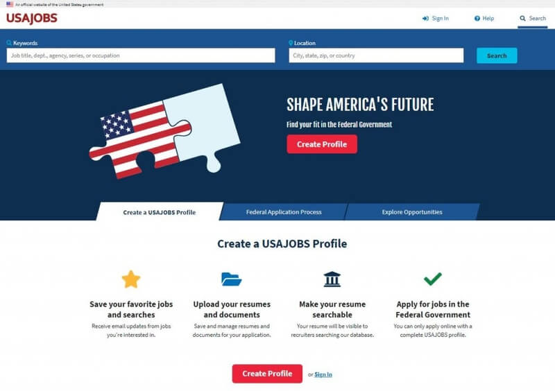 usajobs homepage where federal resume can be submitted