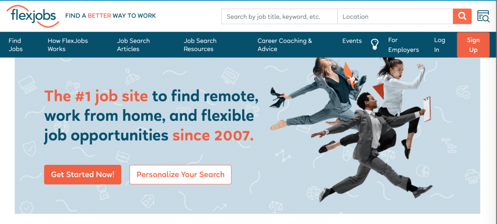 Flexjobs homepage