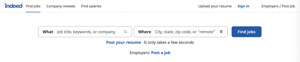 Indeed Jobs page
