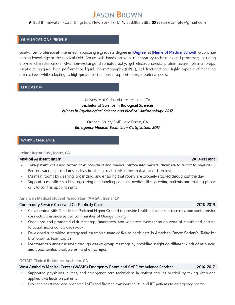 medical student resume sample